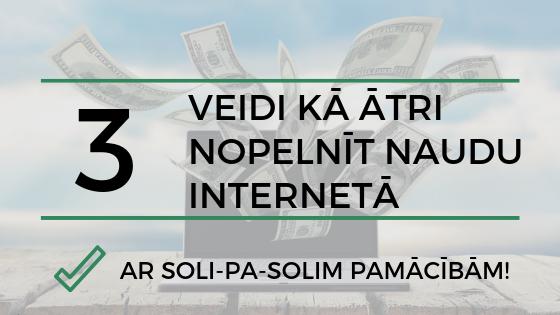 Divi veidi kā ātri nopelnīt naudu internetā